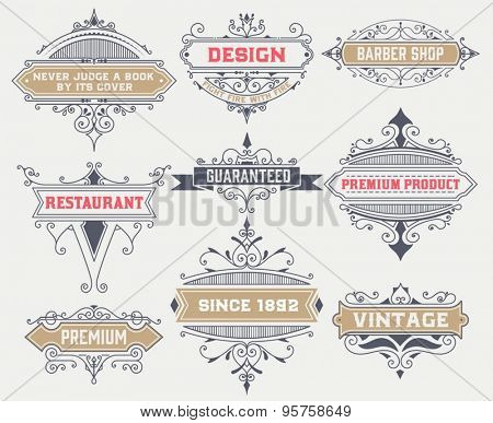 Vintage logo template, Hotel, Restaurant, Business Identity set. Design with Flourishes Elegant Design Elements. Royalty. Vector Illustration