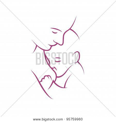 Breast feeding vector sign.