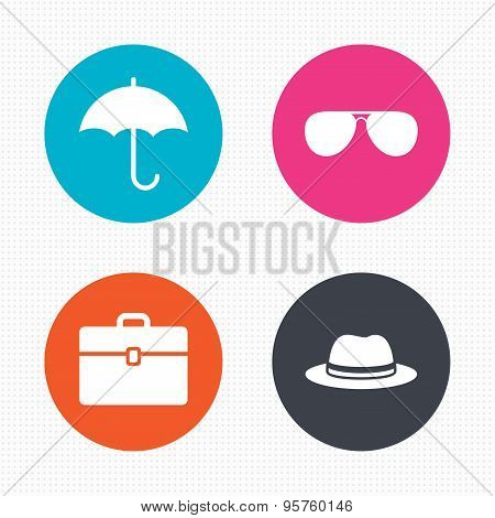 Umbrella, sunglasses and hat with case.
