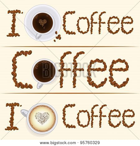 Collection of three vintage coffee banners in different styles