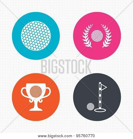 Golf ball icons. Laurel wreath award symbol.