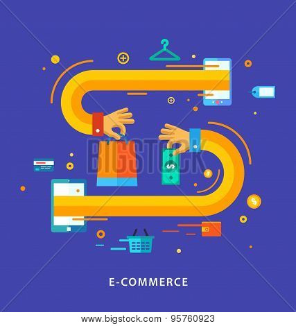 Vector Flat Design Concept With Icons Of Buying Product Via Online Shop And E-commerce