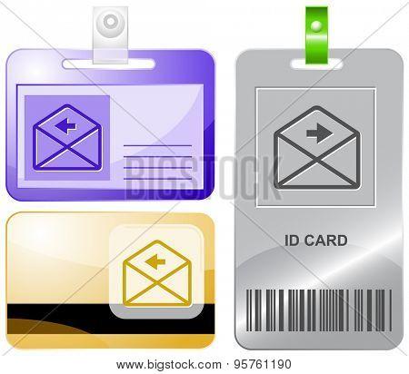 mail left arrow. Vector id cards.