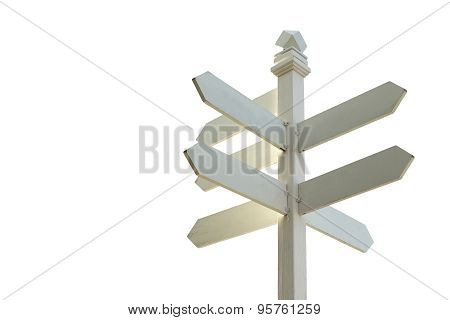 Direction Sign With Blank Spaces For Text On White Background