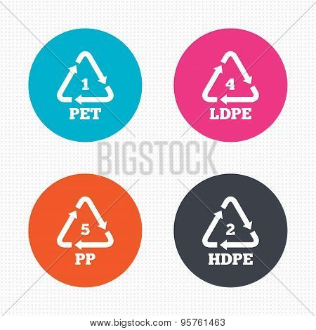 PET, Ld-pe and PP. Polyethylene terephthalate