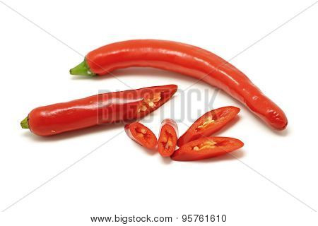 Red Sweet Pepper Or Capsicum  On White Background