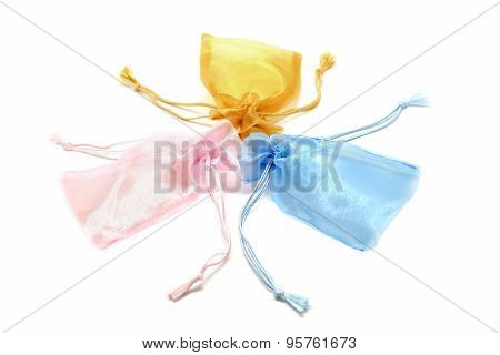 Small Fabric Pouch On White Background