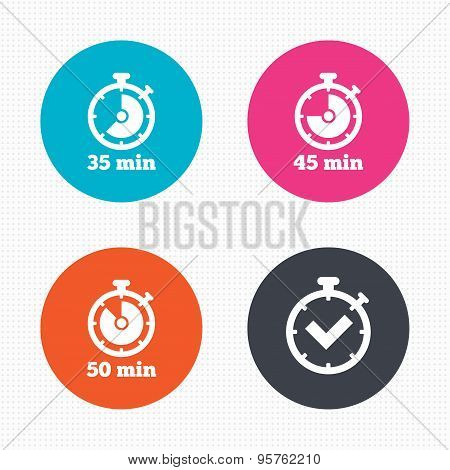 Timer icons. Fifty minutes stopwatch symbol.