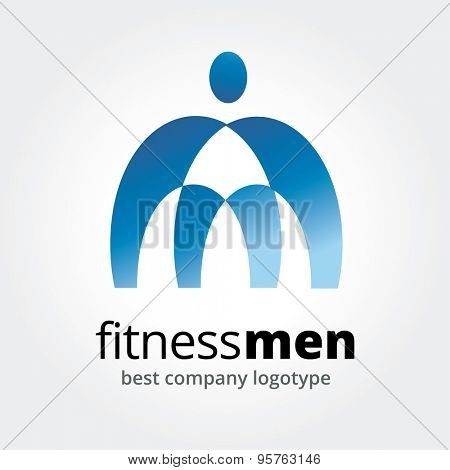 Abstract logo element. Sport, men, power and command. Stock illustration for design