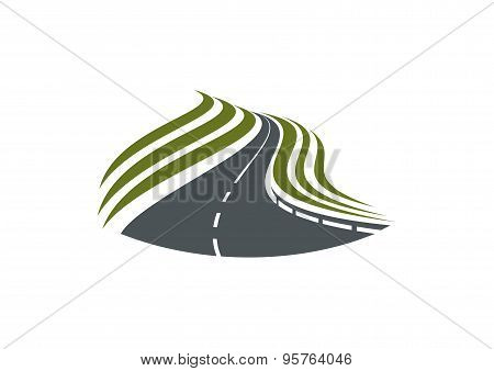 Highway road symbol with dividing strip