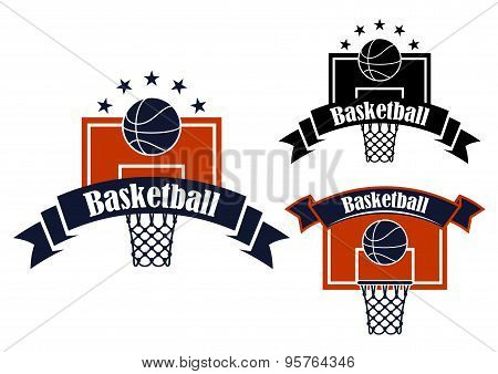Basketball sporting symbols with sport items