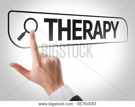 Therapy written in search bar on virtual screen
