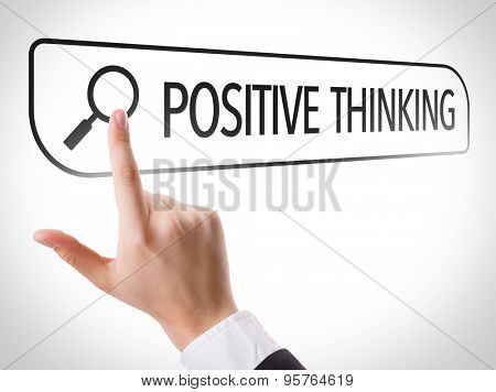 Positive Thinking written in search bar on virtual screen
