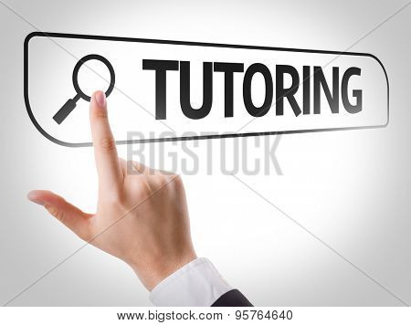 Tutoring written in search bar on virtual screen