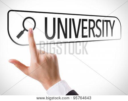 University written in search bar on virtual screen