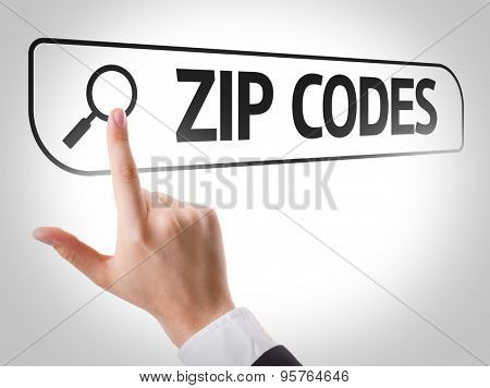 Zip Codes written in search bar on virtual screen