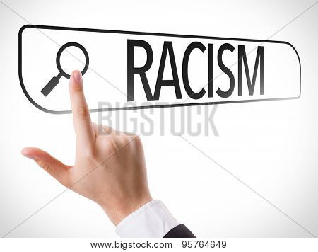 Racism written in search bar on virtual screen