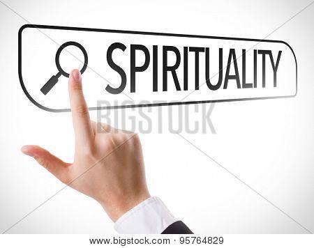 Spirituality written in search bar on virtual screen