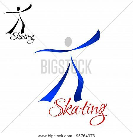 Male dancer skating abstract symbol