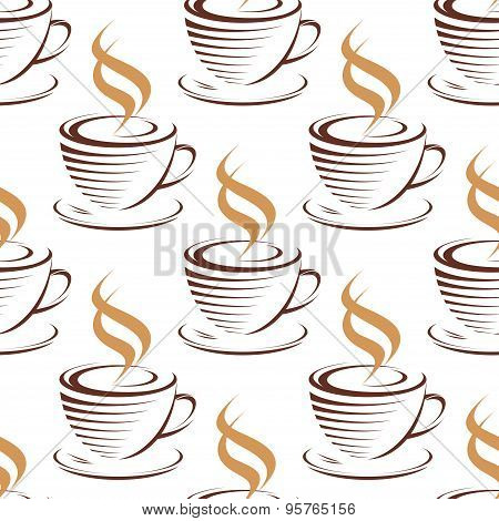 Steaming coffee cups seamless pattern
