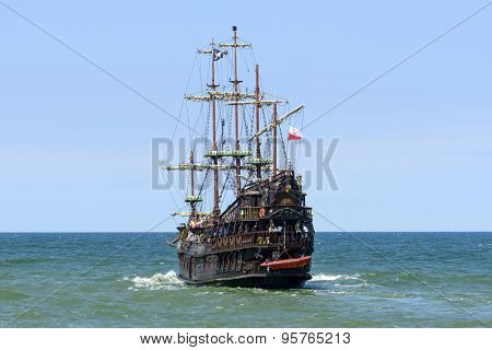USTKA - JULY 07: Pirate touristic ship