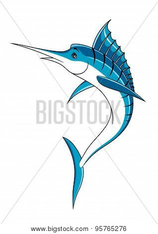Jumping cartoon blue marlin fish