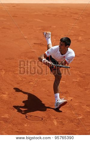 Eight times Grand Slam champion Novak Djokovic in action during his match at Roland Garros