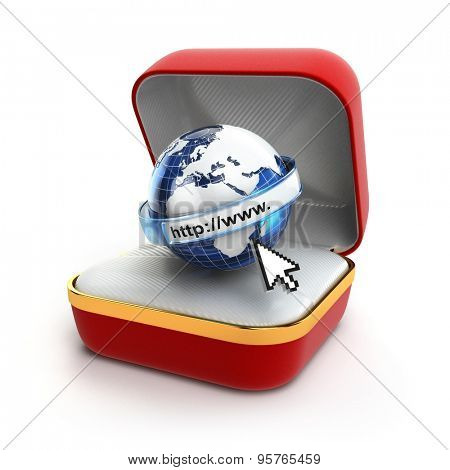 Free internet concept. Browser sign in gift box. 3d
