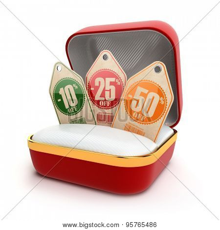 Open gift box with discount labels. Sale 10%, 25%, 50% off. 3d