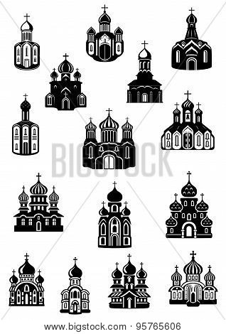 Temple, church fane and shrine icons
