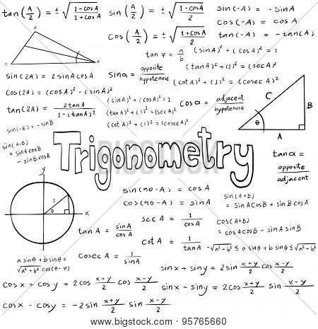 Trigonometry Law Theory And Mathematical Formula Equation, Doodle Handwriting Icon In White Isolated