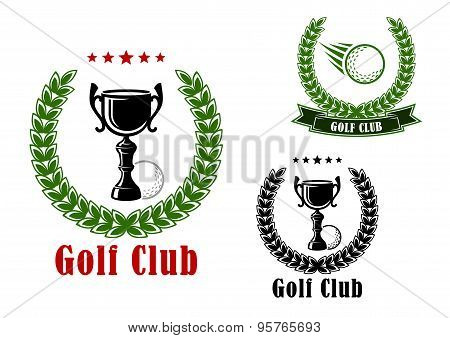 Golf club heraldic emblems and icons