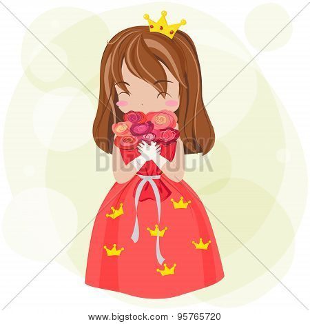 Cute Cartoon Princess With Red Dress And Crown Is Showing Happy Blush Expression With Huge Rose Flow
