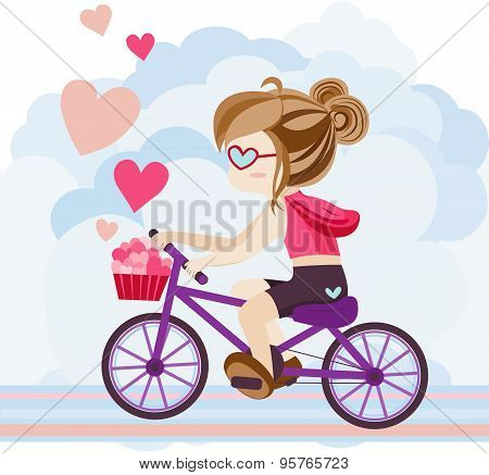 Cute Cartoon Girl Character Is Riding A Bicycle Delivering Heart Symbol And Love In Abstract Isolate