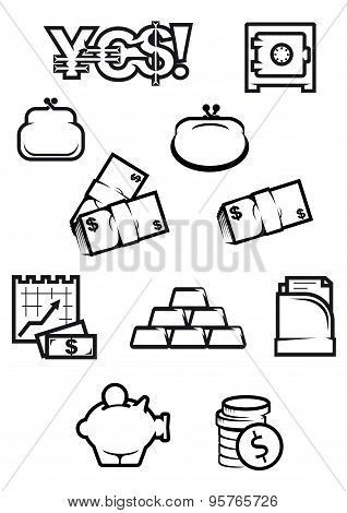 Money and finance icons in outline style
