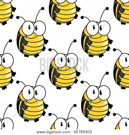 Yellow cartoon striped bugs seamless pattern