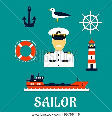Old sailor with flat nautical icons
