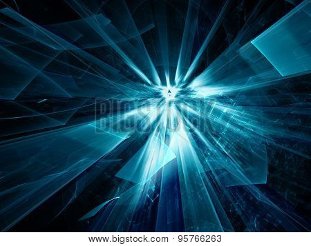 Abstract blue and black background design. Detailed computer graphics.