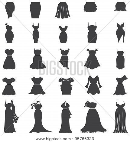 Silhouette Woman Fashion, Clothes, And Dress Icon Set Design For Shopping Advertisement, Create By V