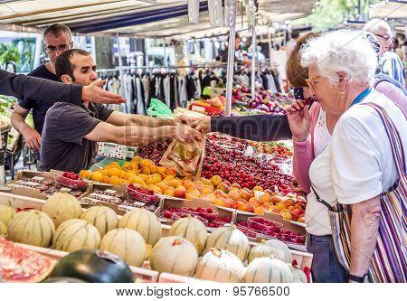 People Visit Farmers Market In Chaillot, Paris