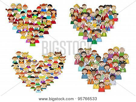 Heart shapes with cartoon kids