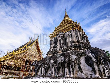 Wat Chiang Man With Stucco Sculpture Elephant Pagoda, Chiang Mai, Thailand. Asia.