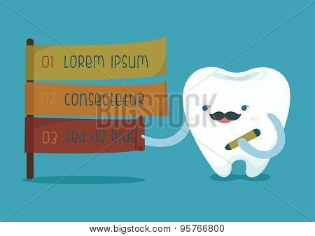 Tooth writing info of dental