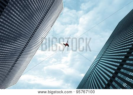 Highline Walker On The Rope High In The Sky