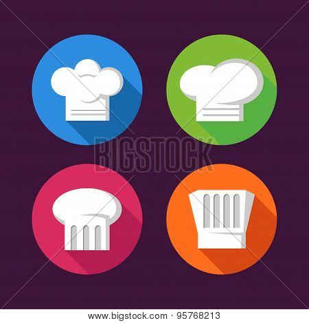 Colorful Chef Hat Flat Icon Set