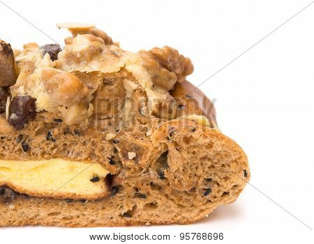 Close Up Of Healthy And Yummy Bread With Walnut Raisin And Melon Seed On White