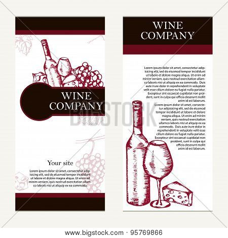 Vector banners set of wine company.