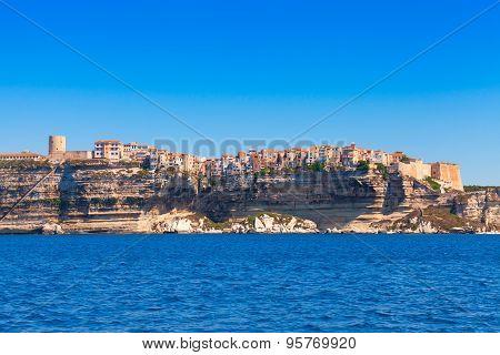 Houses On The Cliff. Bonifacio, Corsica, France