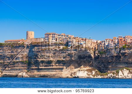 Old Houses And Fortress On The Cliff. Bonifacio, Corsica