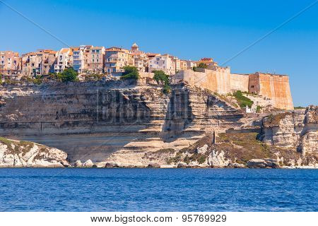 Old Living Houses And Fortress On The Cliff. Bonifacio
